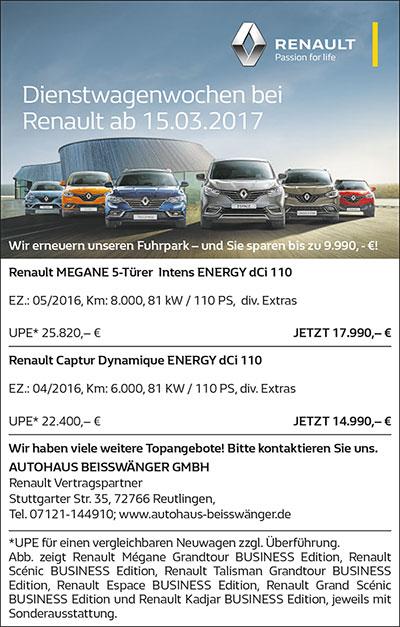 Renault Dienstwagenwochen ab 15.3.17