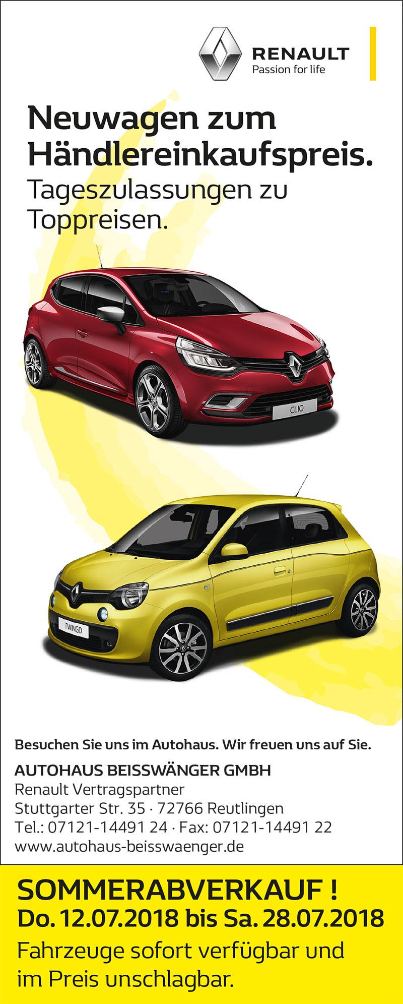Sommerabverkauf - Neuwagen zu Spitzenpreisen