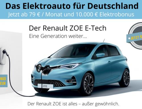 10.000 € Elektrobonus für Renault ZOE Käufer