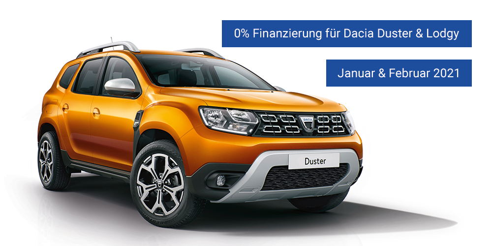 0% Finanzierung Dacia Duster und Dacia Lodgy