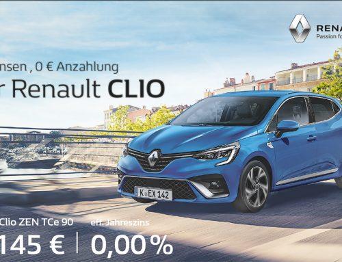 Der RENAULT CLIO für 0% Zinsen, 0€ Anzahlung, ab145,- € mtl.